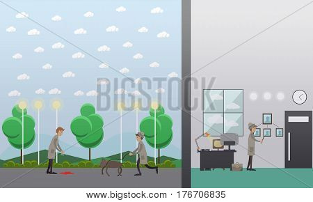 Criminal investigation vector illustration. Detectives doing a crime scene search. Flat style design.