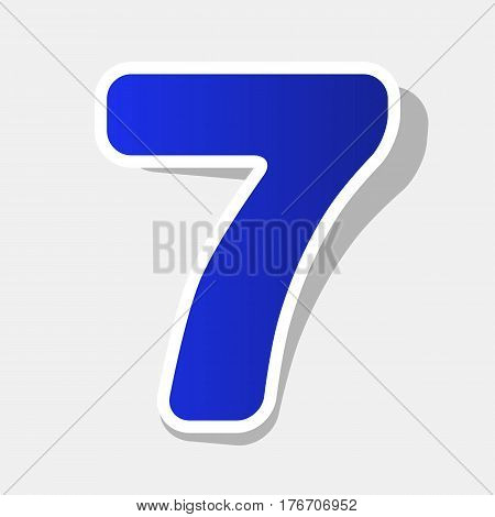 Number 7 sign design template element. Vector. New year bluish icon with outside stroke and gray shadow on light gray background.