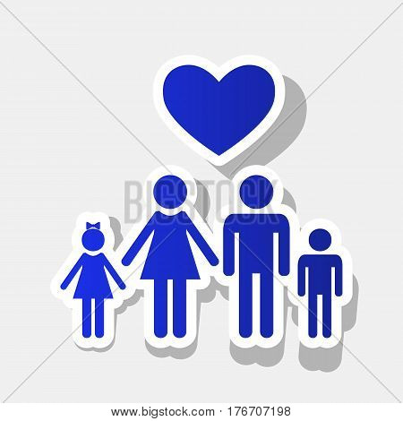 Family symbol with heart. Husband and wife are kept children's hands. Love. Vector. New year bluish icon with outside stroke and gray shadow on light gray background.