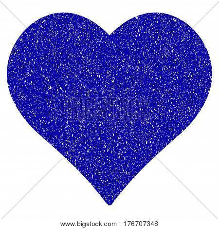 Grunge Love Heart rubber seal stamp watermark. Icon symbol with grunge design and scratched texture. Unclean vector blue sign.