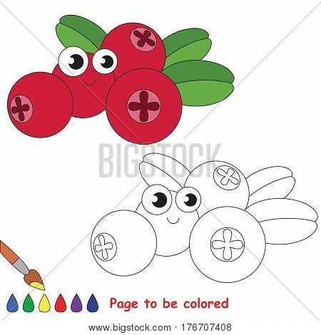 Funny cowberry to be colored. Coloring book to educate kids. Learn colors. Visual educational game. Easy kid gaming and primary education. Simple level of difficulty. Coloring pages.