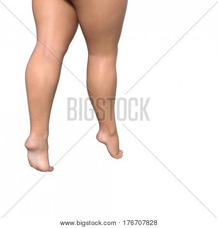 Concept or conceptual big fat overweight obese young woman body, cellulite female legs isolated on background