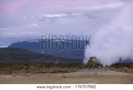 Close up of smoking fumaroles in the geothermal area Hverir Iceland.