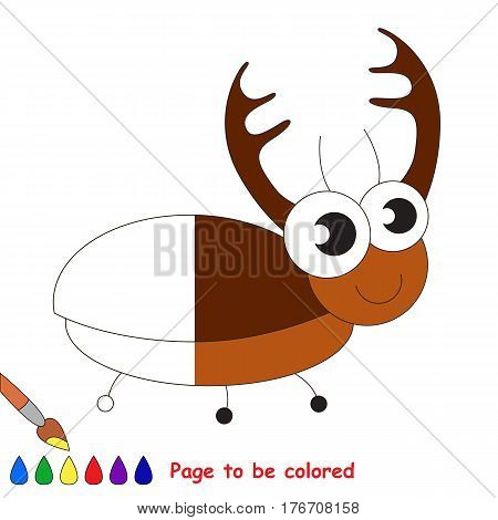 Big corn beetle to be colored, the coloring book to educate preschool kids with easy kid educational gaming and primary education of simple game level.