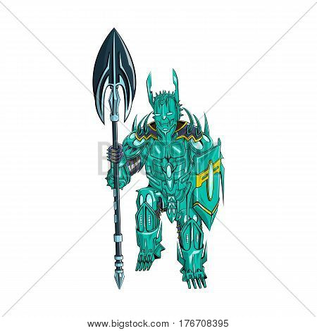 Vector illustration of a warrior fighter knight with a weapon and shield in metal armor
