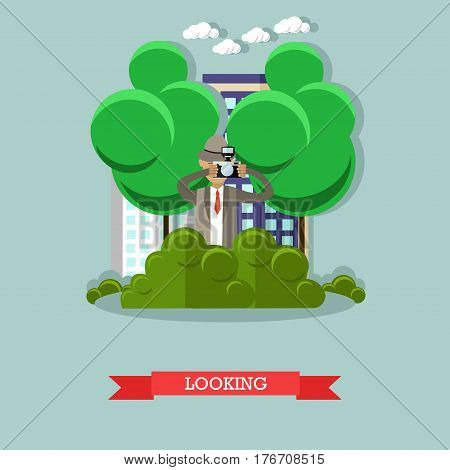 Vector illustration of detective looking out for someone and taking photos. Secret observation flat style design element. poster