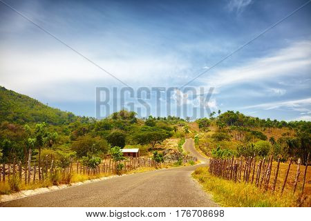 The Road To Pico Isabel De Torres, Puerto Plata, Through The Countryside And A Sun Scorched Landscap