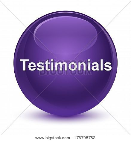Testimonials Glassy Purple Round Button