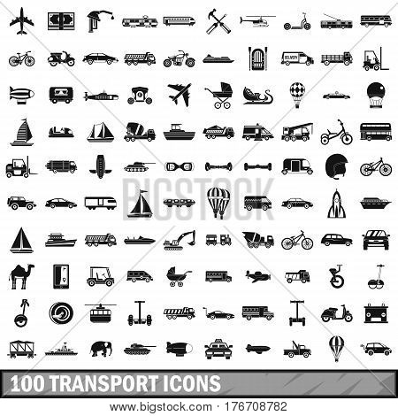 100 transport icons set in simple style for any design vector illustration