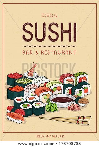 Sushi menu cover design, vertical template with sushi roll and chopsticks. Colorful vector illustration.
