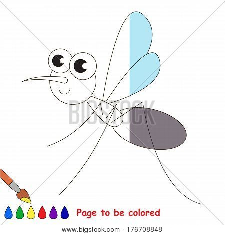Mosquito to be colored, the coloring book to educate preschool kids with easy kid educational gaming and primary education of simple game level.