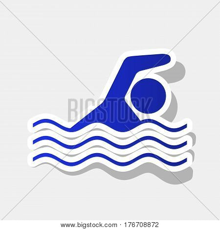 Swimming water sport sign. Vector. New year bluish icon with outside stroke and gray shadow on light gray background.