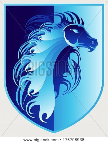 Beautiful Wild Stallion Blue Crest Icon Logo