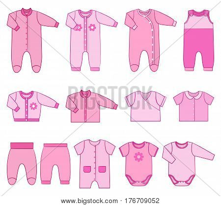 Baby clothes. Garments for infant girls. Vector. Kids bodysuits, overalls, rompers, dress. Set icons pink clothing in flat style. Illustration with isolated objects with stroke on white background.