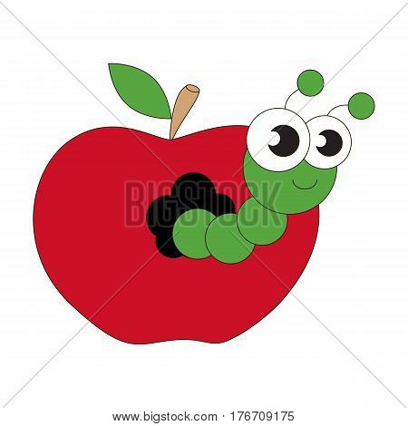 Apple worm cartoon. Outlined character with black stroke.