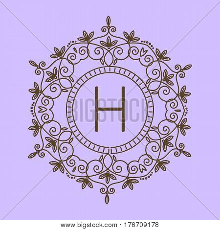 Monogram H logo and text badge emblem line art vector illustration luxury template flourishes calligraphic leaves elegant ornament sign. Flourish outline decoration frame border with letter.
