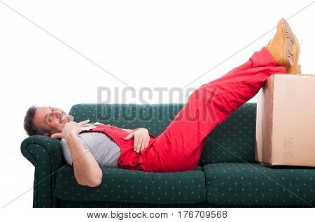 Mover Man Laid On Couch Making Calling Gesture