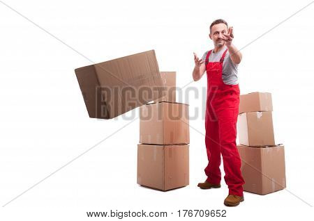 Full Body Mover Guy Throwing A Cardboard Box