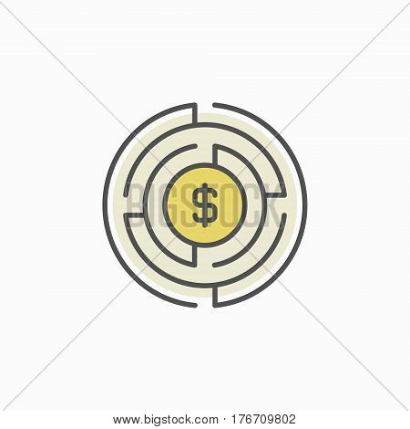 Labyrinth with money icon. Vector maze with a dollar inside colorful concept symbol or design element