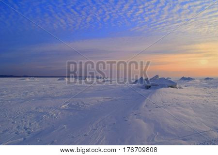 Winter sunset on Siberian river Novosibirsk Russia. Novosibirsk Reservoir (Ob sea) Ob river Siberia.