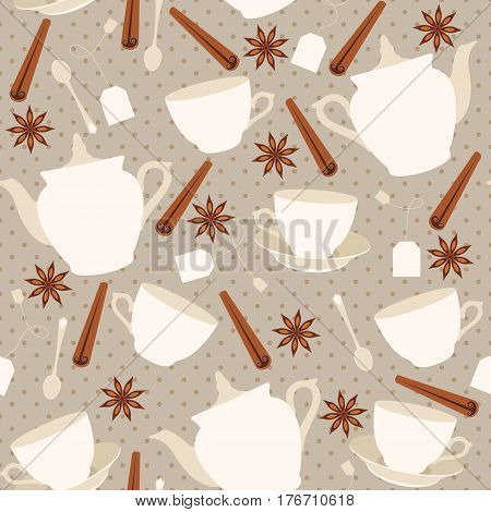 Seamless pattern with cups and teapots and cinnamon sticks. Vector illustration