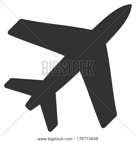 Airplane vector icon. Flat gray symbol. Pictogram is isolated on a white background. Designed for web and software interfaces.