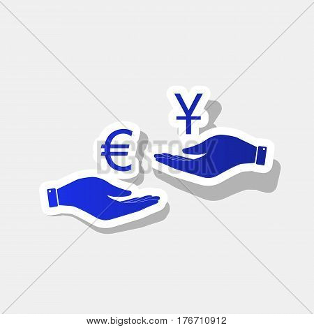 Currency exchange from hand to hand. Euro and Yuan. Vector. New year bluish icon with outside stroke and gray shadow on light gray background.
