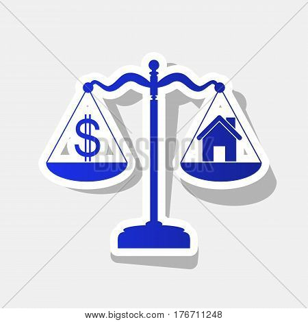 House and dollar symbol on scales. Vector. New year bluish icon with outside stroke and gray shadow on light gray background.