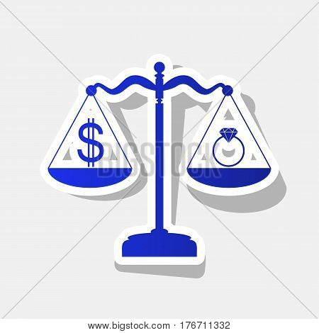 Ring jewelery and dollar symbol on scales. Vector. New year bluish icon with outside stroke and gray shadow on light gray background.