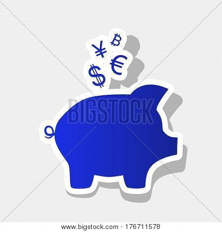 Piggy bank sign with the currencies. Vector. New year bluish icon with outside stroke and gray shadow on light gray background.