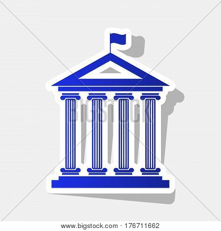Historical building with flag. Vector. New year bluish icon with outside stroke and gray shadow on light gray background.