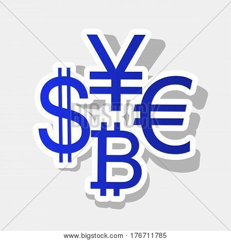 Currency sign collection dollar, euro, bitcoin, yen. Vector. New year bluish icon with outside stroke and gray shadow on light gray background.