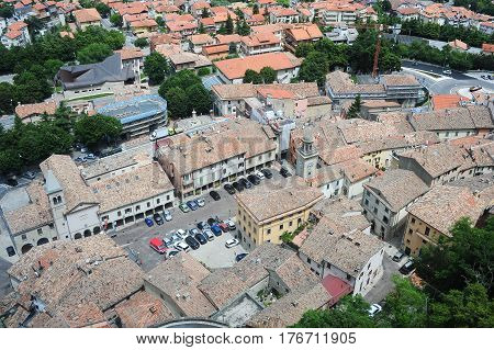Piazza Grande And Church Of The Suffrage On Borgo Maggiore