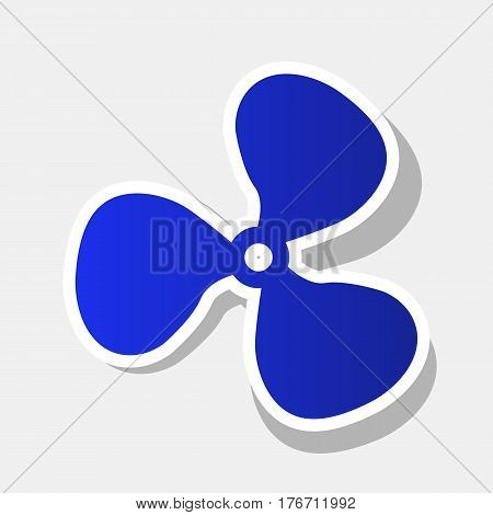 Fan sign. Vector. New year bluish icon with outside stroke and gray shadow on light gray background.
