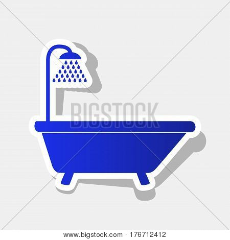 Bathtub sign. Vector. New year bluish icon with outside stroke and gray shadow on light gray background.