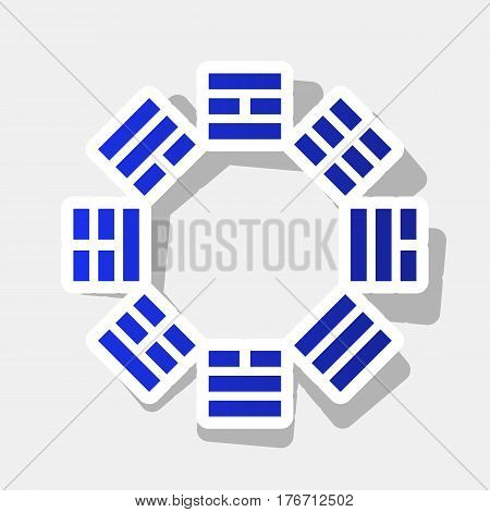 Bagua sign. Vector. New year bluish icon with outside stroke and gray shadow on light gray background.