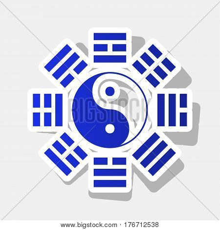Yin and yang sign with bagua arrangement. Vector. New year bluish icon with outside stroke and gray shadow on light gray background.