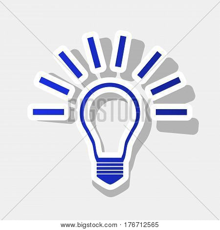 Light lamp sign. Vector. New year bluish icon with outside stroke and gray shadow on light gray background.
