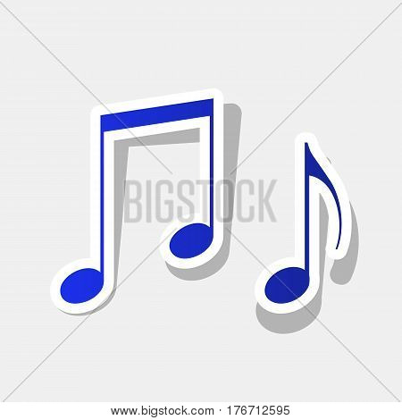 Music notes sign. Vector. New year bluish icon with outside stroke and gray shadow on light gray background.