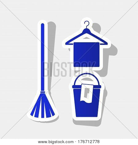Broom, bucket and hanger sign. Vector. New year bluish icon with outside stroke and gray shadow on light gray background.
