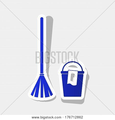 Broom and bucket sign. Vector. New year bluish icon with outside stroke and gray shadow on light gray background.