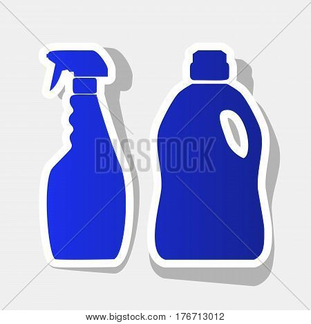 Household chemical bottles sign. Vector. New year bluish icon with outside stroke and gray shadow on light gray background.