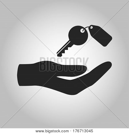 icon hand holding key isolated on grey background
