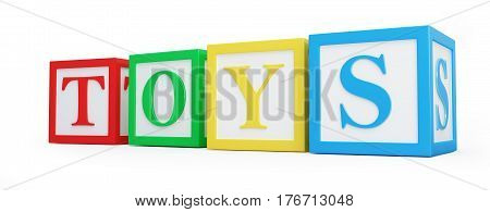 Toy blocks on a white background 3D illustration