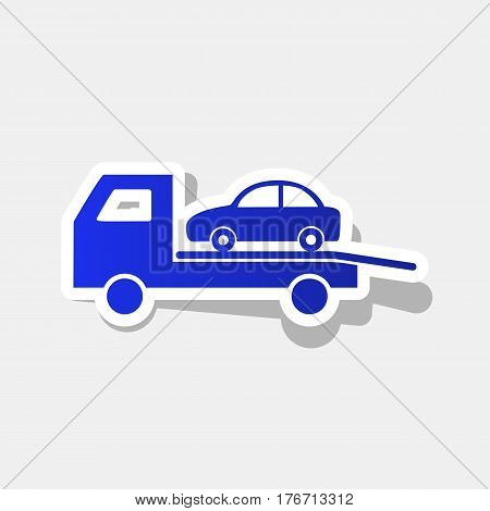 Tow car evacuation sign. Vector. New year bluish icon with outside stroke and gray shadow on light gray background.
