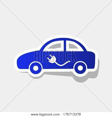Electric car sign. Vector. New year bluish icon with outside stroke and gray shadow on light gray background.