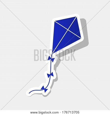 Kite sign. Vector. New year bluish icon with outside stroke and gray shadow on light gray background.