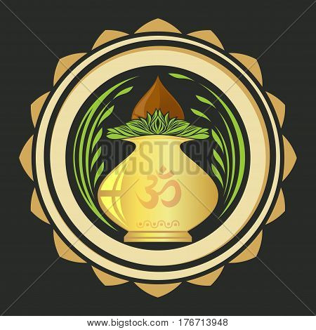 Puja Kalasha also kalash or kalasa. Metal pot used in Hindu rites and depicted in Hindu iconography. Vector illustration