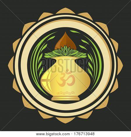 Puja Kalasha also kalash or kalasa. Metal pot used in Hindu rites and depicted in Hindu iconography. Vector illustration