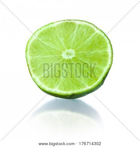 Close-up image of lime with shadow studio isolated on white background